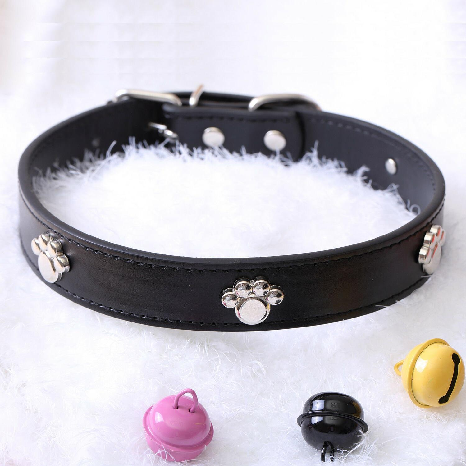 Jeweled Paw Faux Leather Small XS S Adjustable Bell