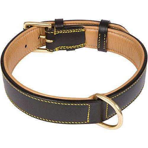 Soft Touch Leather Black, Padded Comfort Genuine Leather, for Large Male or Female Dogs,
