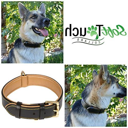 Soft Touch Collars Leather Black, Padded for Comfort Genuine Real Leather, Best for or Female