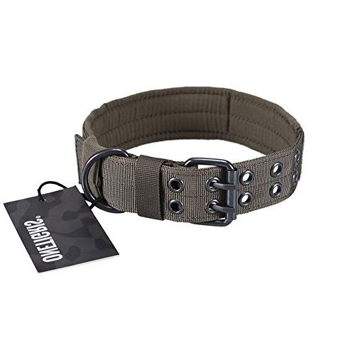 OneTigris Military Adjustable Dog Collar with Metal D Ring &