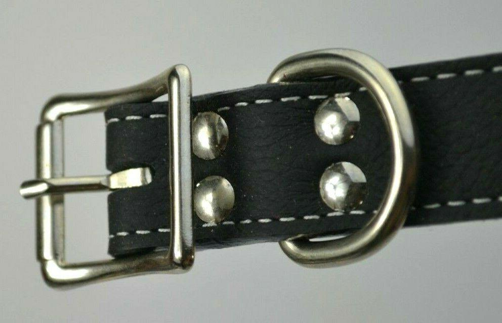 NEW Leathercrafters Black Leather Dog Collar Made