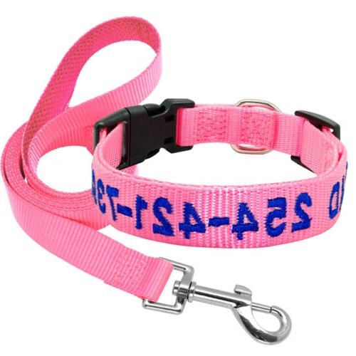 Personalized Collar and Leash Embroidered Nylon Name Number Custom
