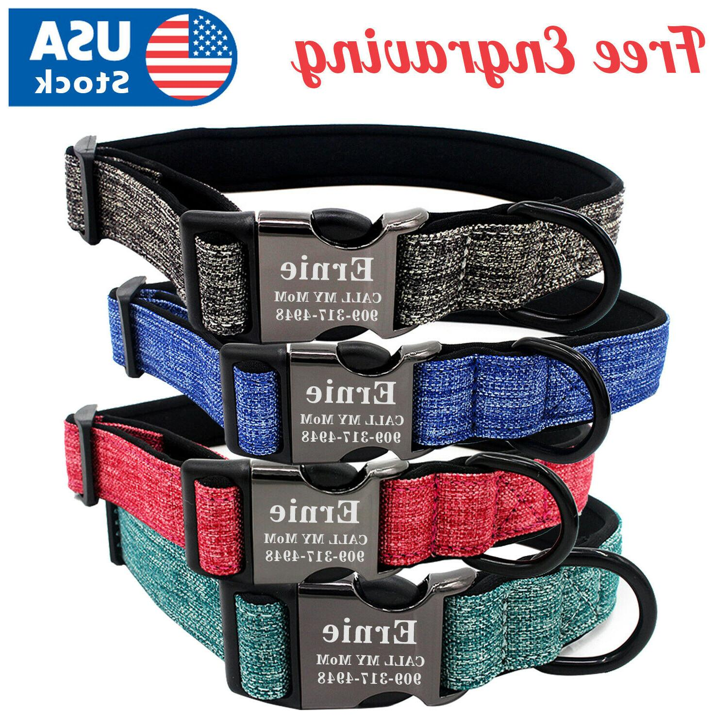 personalized dog collar canvas buckle engraved id