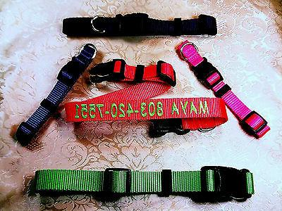 """Personalized Embroidered Adjustable Dog Collars 1"""" , 3/4"""", 5"""