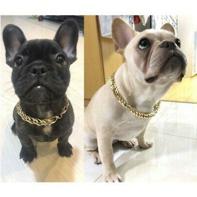 Pet Dog Gold Curb Cuban Link Chain Collar Necklace Puppy Pla