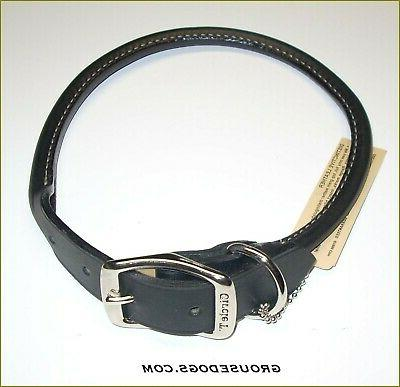 "ROLLED LEATHER DOG COLLAR >BLACK< 22"" NICKEL HARDWARE  USA"