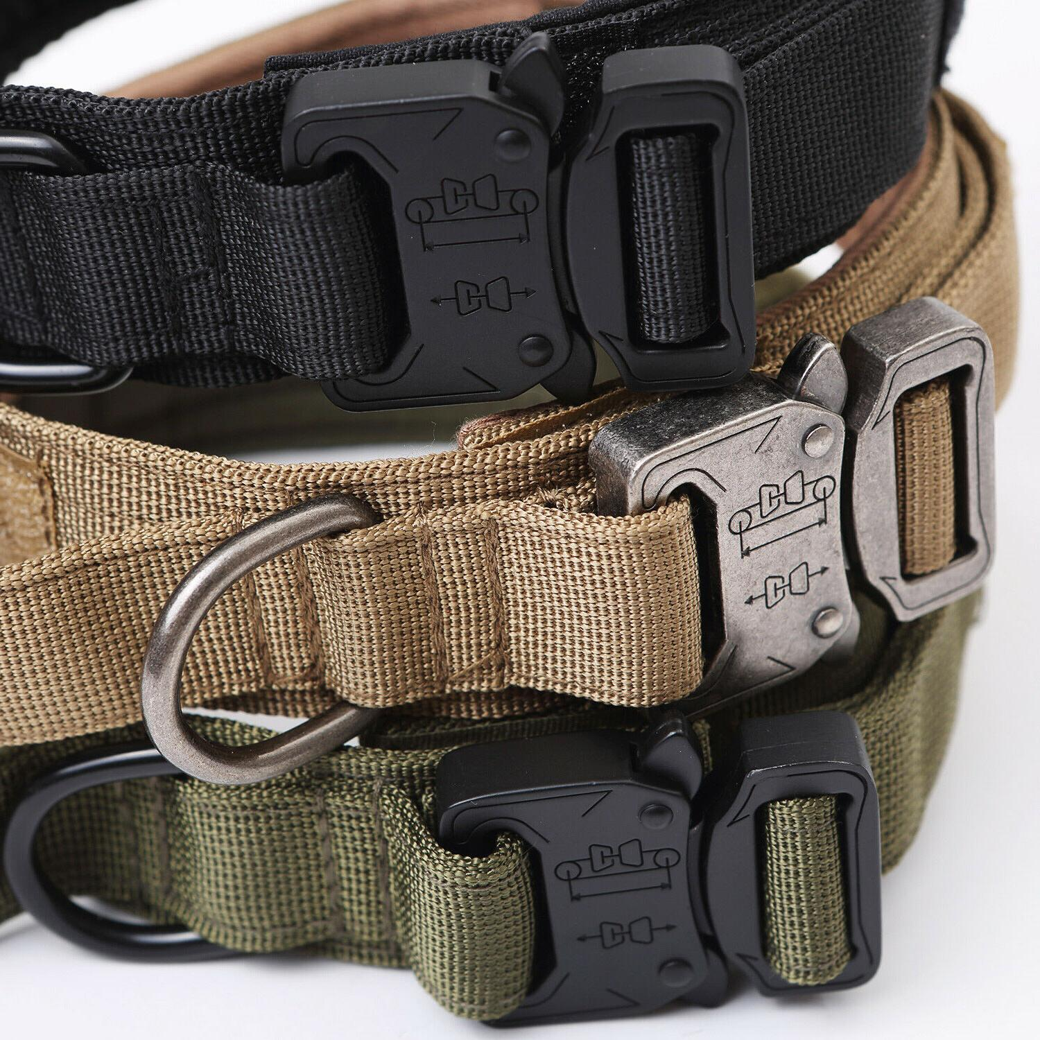 Tactical K9 Dog Training Collar+Leash Metal Buckle for Heavy Duty
