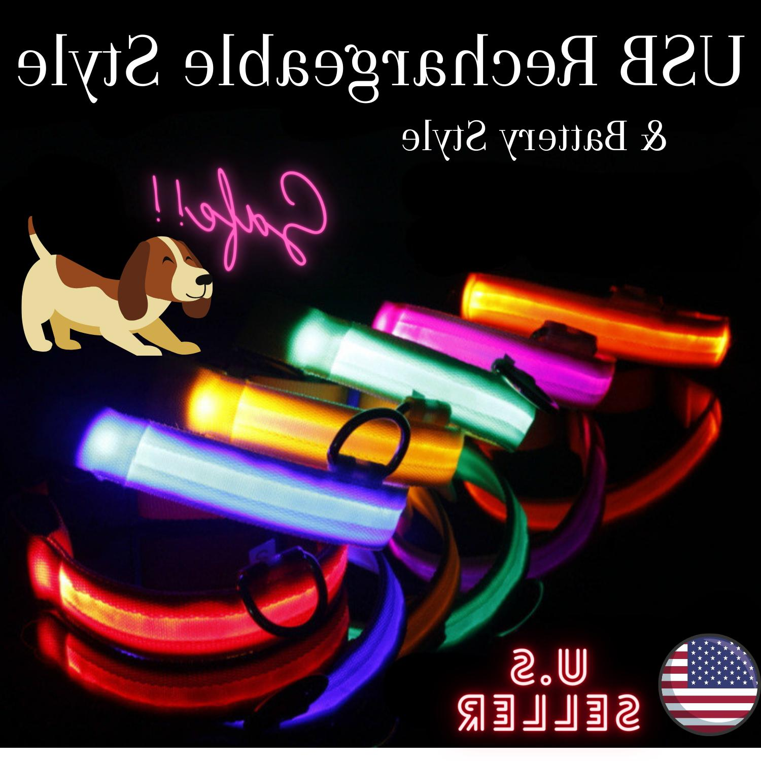 usb rechargeable led collar light up dog