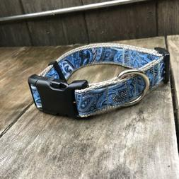 "Large Dog Collar - Blue Paisley Dog Collar Size L 15"" to 2"
