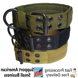 Large Heavy Duty Nylon Dog Collar Tactical Military with Met