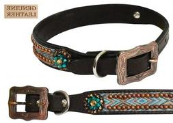 Showman Couture LARGE Leather Dog Collar w/ Copper Studded T