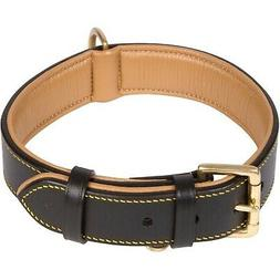 leather dog collar black padded for comfort
