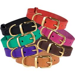 Leather Dog Collar Brass Buckle Collars for Dogs Red Brown B