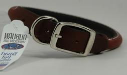 "Auburn Leather Rolled Round Dog Collar - Brown 8""-10"""