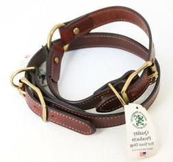 """Lot of 2 Mendota Products Leather Dog Collars Chestnut 1"""" x"""
