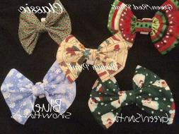 LUXURY Dog Collar Bows Bow tie  Holiday Christmas Hand Made