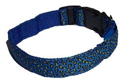 NOLA'S BARK Blue LED Dog Collar with Leopard Print MD