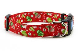 BIG SMILE PAW Nylon Dog Collar Adjustable,Christmas/Winter T