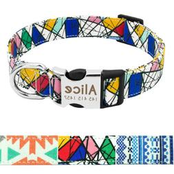 Nylon Personalized Dog Collar Small Large Engraved Buckle Cu