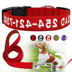 Personalized Dog Collar and Leash Embroidered Nylon Name Num