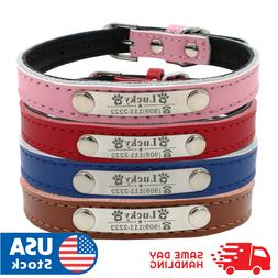 Personalized Dog Collar Leather Padded Name ID Tag Engraved