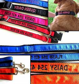 Personalized Embroidered Dog Collar and Matching Leash combo