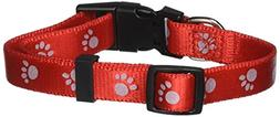 Petmate 5/8 Single Ply Nylon Reflective Dog Collar in Red, M