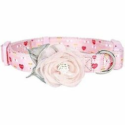 Pink Dog Collar With Detachable Flower Accessory, Spring Flo