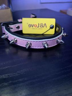 AOLOVE Pink Spiked/ Studded Padded Leather Pet Collar For Ca