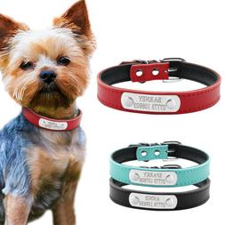 PU Leather Personalized Dog Collars Free Engraving Custom Ca