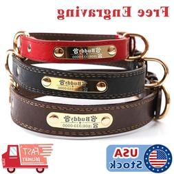PU Personalized Dog Collars Name ID Collar with Nameplate En