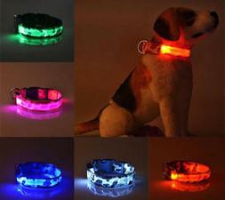 RECHARGEABLE CAMO LED PET DOG GLOW COLLAR night harness flas