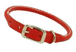 Auburn Leathercrafters Rolled Dog Collar - Red - 16