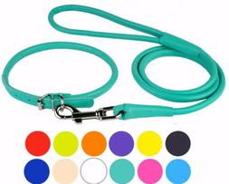Rolled Dog Collar Leather Leash Set Soft Padded Lead for Dog