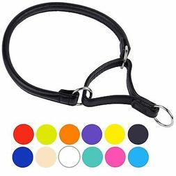 Rolled Dog Martingale Collar Leather Soft Padded Puppy Small