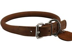 """Rolled Genuine Leather Dog Collar 15.5""""-18.5"""" neck Chows"""