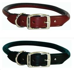 Hamilton Rolled Leather Dog Collar Choose Burgundy Red or Bl