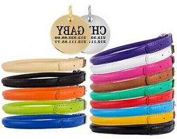 Rolled Leather Dog Collar Round Puppy Cat Collars S M L XL P