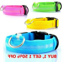 Safety Dog LED Collar Blinking Night Flashing Light Glow Adj