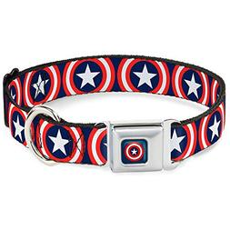 Buckle-Down Seatbelt Buckle Dog Collar - Captain America Shi