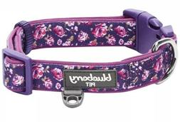 Blueberry Pet Soft & Comfy Padded Dog Collar Purple Floral S