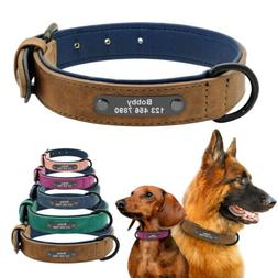 Soft Leather Personalized Dog Collar Engrave ID Name Custom
