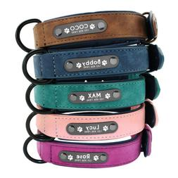 Soft Leather Personalized Dog Collar ID Tag Engraved for Sma