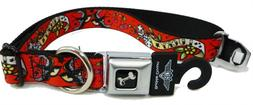 """Buckle Down Seatbelt Buckle Dog Collar - Lucky Red - 1"""" Wide"""