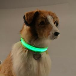 USB Rechargeable LED Dog  Light Up Safety Collar Night Glow