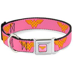 Buckle Down Seatbelt Buckle Dog Collar - Wonder Woman Logo P